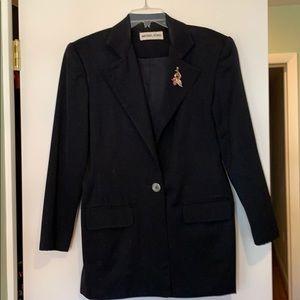 Black wool blazer with lapel pin
